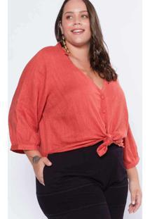 Blusa Almaria Plus Size Pianeta 3/4 Linho Vermelho