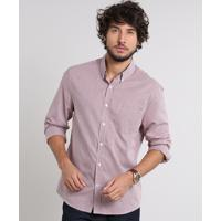 124797859 Camisa Masculina Comfort Estampada Xadrez Com Bolso Manga Longa Vinho