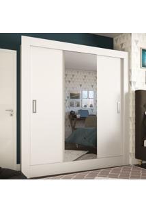 Guarda-Roupa Casal 3 Portas De Correr Com Espelho Smart Ultra Branco - Pnr Móveis