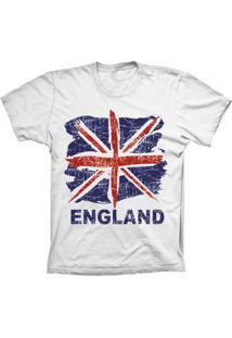 Camiseta Lu Geek Manga Curta England Flag Branco