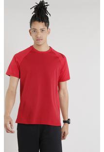 Camiseta Masculina Esportiva Ace Com Estampa Geométrica Manga Curta Gola Careca Vermelha
