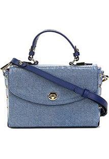Bolsa Couro Jorge Bischoff Mini Bag Jeans Verniz Feminina - Feminino-Azul