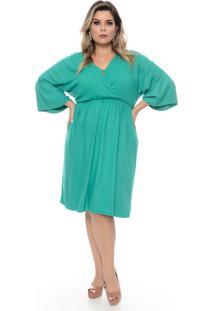 Vestido Domenica Solazzo Cabotine Verde Plus Size - Tricae