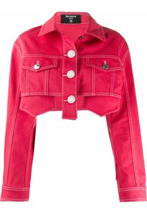 Balmain Jaqueta Jeans Cropped - Rosa