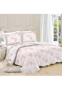 Conjunto De Colcha Patchwork Floral Queen Size- Branco &Camesa