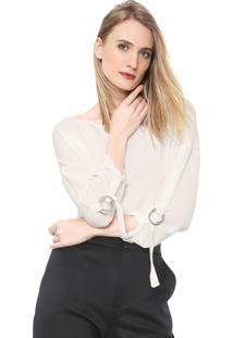 Blusa Cropped Lança Perfume Argolas Off-White