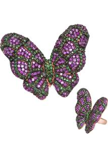 Anel Le Diamond Borboleta Multicolorido Roxo