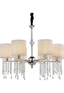 Lustre Vichy Premier Iluminação 165X69 Tecido Branco, Metal E Cristai