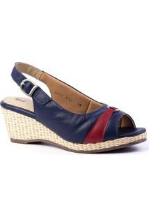 Sandália Anabela 612 Doctor Shoes Feminina - Feminino-Azul
