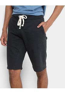 Bermuda Moletom Kohmar Cordão Com Recorte Masculina - Masculino-Preto