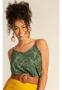 Blusa Com Alça Fina Estampada Verde