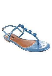 Sandália Rasteira M Shuz Pérolas Azul