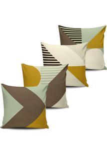 Kit 4 Capas Almofadas Geometricas Marrom Colors 45X45Cm - Tricae