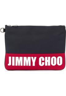 Jimmy Choo Bolsa Carteiro Derek Com Estampa De Logo - Azul