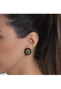 Brinco Rosa Pinhal Verde Esmeralda Cravejado Zircônias Negras Ouro 18K