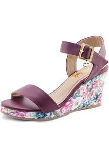 Sandália Debelly Calçados Anabella Marsala Com Estampa Floral
