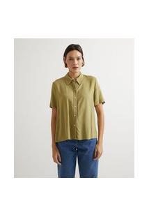 Camisa Manga Curta Em Viscolinho Básica | Marfinno | Verde | P