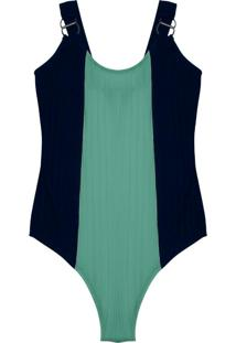 Body Feminino Canelado Bicolor Verde