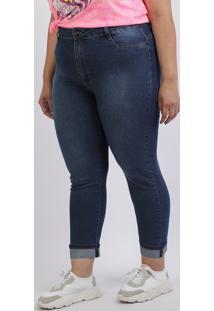 Calça Jeans Feminina Plus Size Sawary Cropped Cintura Alta Azul Escuro