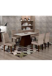 Conjunto De Mesa De Jantar Luna Com 6 Cadeiras Ane Suede Amassado Castor, Branco E Chocolate