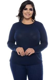 Blusa Marie Plus Size Confort Feel Marinho
