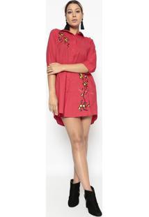 Vestido Com Bordado- Vermelho & Amarelo- Bhlbhl