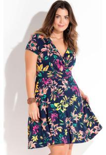 161fe21c23 ... Vestido Transpassado Floral Plus Size Quintess
