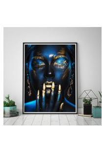 Quadro Com Moldura Chanfrada Mulher Azul Com Dourado Pequeno