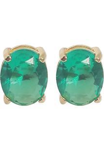 Brinco Kumbayá Oval Banho De Ouro 18K Cristal Verde Esmeralda