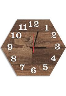 Relógio De Parede Decorativo Premium Hexagonal Madeira Ripada Com Números Em Relevo Médio