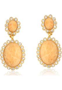 Brinco Toque De Joia Kate Cravejado E Pedra Amazonita Nude Dourado