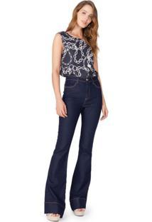 Calça Jeans Flare Bolso Diferenciado