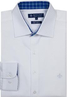 Camisa Dudalina Manga Longa Fio Tinto Maquinetado Masculina (Branco, 6)