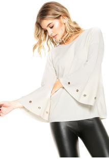 Blusa Facinelli By Mooncity Tricot Ilhoses Bege