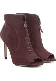 Ankle Boot Couro Shoestock Salto Fino Zíper - Feminino