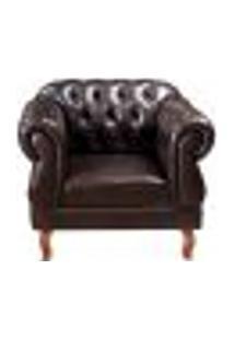 Poltrona Duquesa Capitonê Chesterfield Cadeira Decorativa Clássica Para Recepção, Sala, Tv Estar - Couríssimo Café
