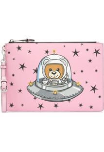 Moschino Clutch Com Estampa 'Teddy Bear' - Rosa