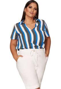 Blusa Almaria Plus Size Pianeta Listrada Azul