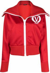 Versace Foldover Neck Track Jacket - Vermelho