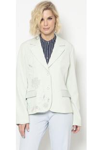 Blazer Bordado- Verde Claro & Off White- Cotton Colocotton Colors Extra