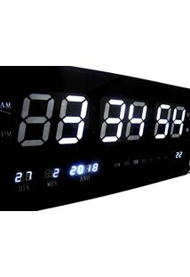 5aece873a2d ... Relogio De Parede Branco Grande De Led Digital Alarme Data (Rel-60)