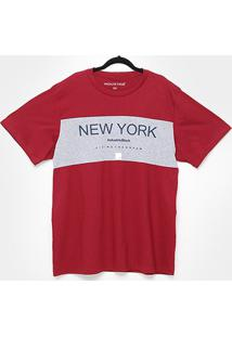 Camiseta Industrie New York Plus Size Masculina - Masculino-Bordô