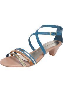 Sandália Fiveblu Stripes Azul/Dourado