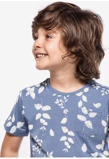 Camiseta Azul Folhas Niños 500012