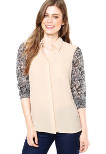 Camisa Manga Longa Clothing & Co. Lucille Bege