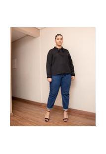 Blusa Em Crepe Com Gola Laço Curve & Plus Size | Ashua Curve E Plus Size | Preto | Gg