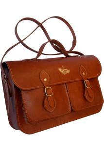 Bolsa Line Store Leather Satchel Pockets Média Couro Whisky Rústico. - Kanui