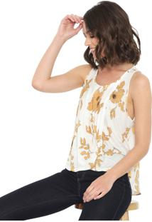 Regata Lança Perfume Mullet Floral Branco/Amarelo