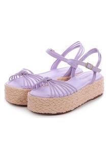 Sandália Salto Corda De Tiras Damannu Shoes Thalia Lilás