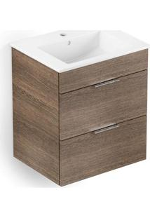 Gabinete Integrado Em Mdf Para Banheiro Com Lavatório Cube 65X43Cm Com 2 Gavetas Wengue
